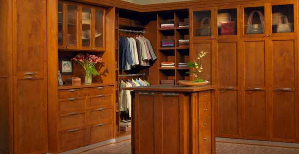 Alder Closet Stained A Warm Sienna Color With Shaker Fronts And Brushed  Aluminum Accents For A Modern Yet Timeless Flare.